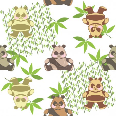 seamless background from a different funny pandas on a white bac