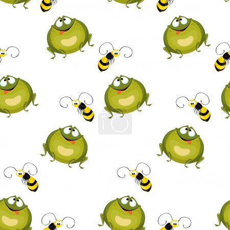 Seamless background of large green frogs and flying bees.