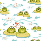 Seamless background of Valentine frog sitting on a leaf with fis