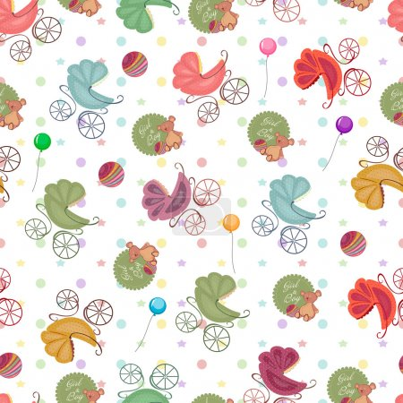 Color children background of colored stars, circles, different strollers, toys