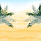 Tropical nature warm Golden sand and the bright sun under the l