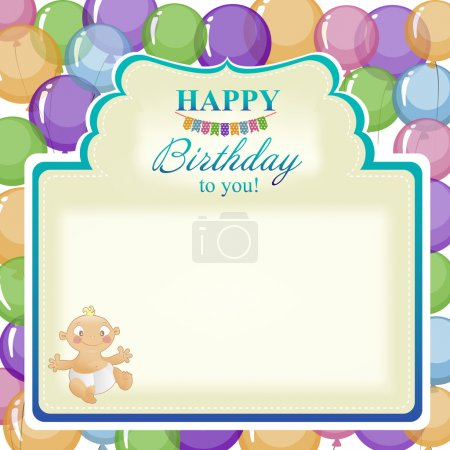 Illustration for Childrens greeting background for the boy. Postcard for greetings birthday with balloons for the little boy. - Royalty Free Image