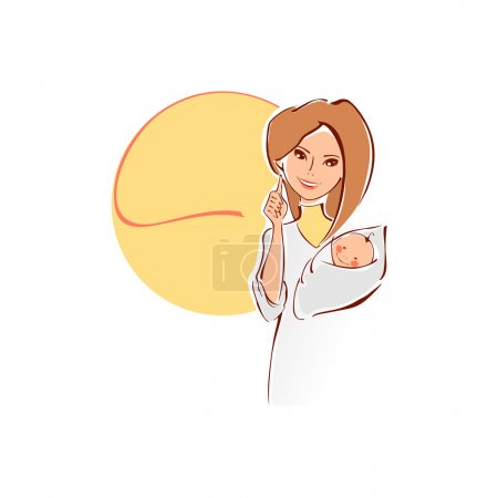 Vector illustration of a female doctor with newborn baby.