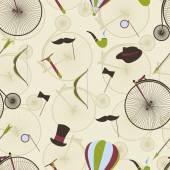 Seamless pattern men's set Bicycle bow arrow hat top hat m