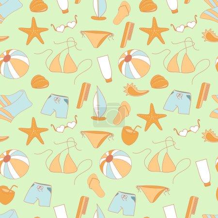 Seamless pattern summer collection of swimwear, shorts, ball