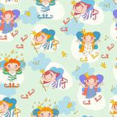 Seamless background vector illustration girls fairies Fairy wit