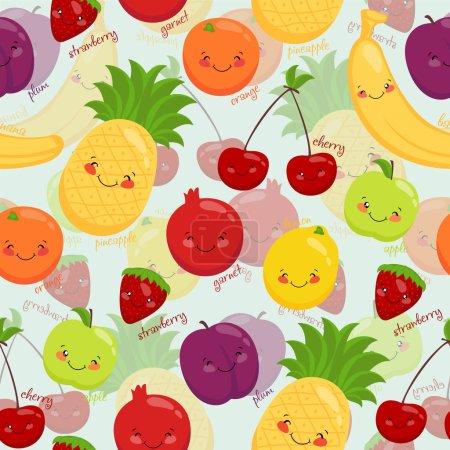 Seamless background stock vector image cartoon fruit, vegetarian