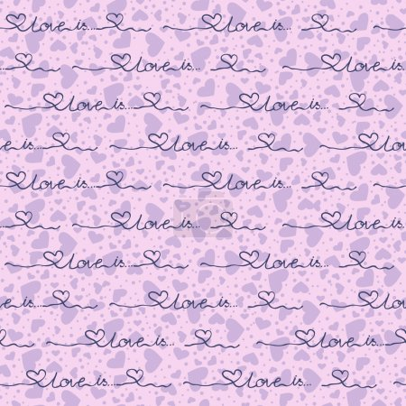 Vector seamless background with purple hearts the inscripti