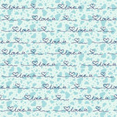 Vector seamless background with blue hearts the inscription