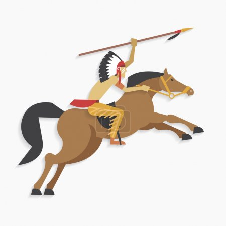 Native american indian chief with spear riding horse