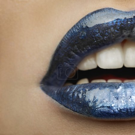 Blue or turquoise female lips
