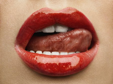 Photo for Sexy Lips. Beauty Red Lips Makeup Detail. Beautiful Make-up Closeup. Sensual Open Mouth. Lipstick or Lipgloss - Royalty Free Image
