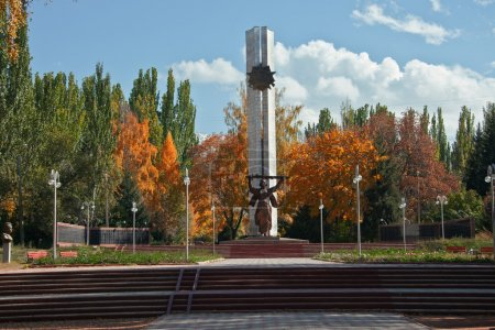 Memorial monument to the city of Karakol in Kyrgyzstan to the fa