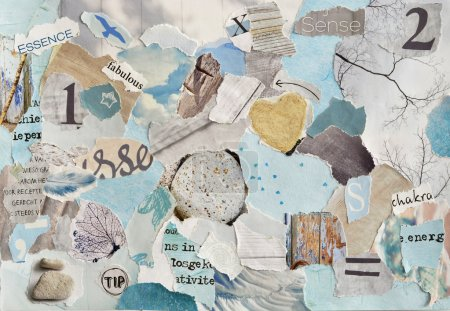 Photo for Serene zen Creative Atmosphere art mood board collage sheet in color idea  aqua blue , mint green,grey, white made of  teared magazine and printed matter paper with colors and textures - Royalty Free Image