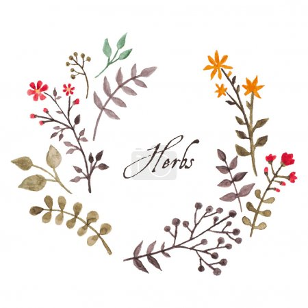 Simple and cute floral oval wreath with autumn branches and leaves.
