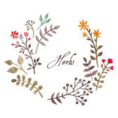 Simple and cute floral oval wreath with autumn branches and leaves