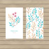 Vector card with watercolor flowers and leaves