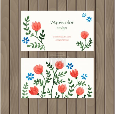 Illustration for Vector business card with watercolor flowers on wood background. Business card template with plenty of space for your text. The original design for you - Royalty Free Image