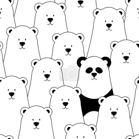 Illustration pour Modèle sans couture vectoriel avec ours blancs et panda - image libre de droit