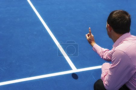 Chair umpire look at mark on court and says ball was OUT