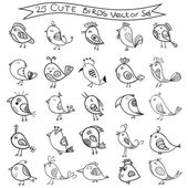 Set of 25 cute birds in vector Birds doodle collection