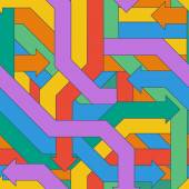 Seamless pattern of colorful intertwined arrows