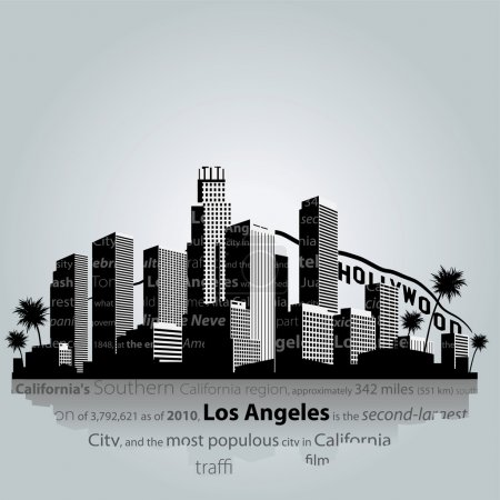 Los Angeles city silhouette.