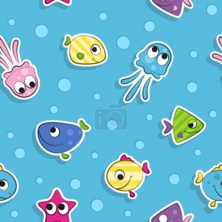 Illustration pour Vecteur. Modèle sans couture avec des poissons de dessin animé drôles colorés . - image libre de droit