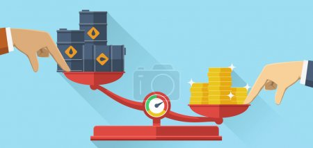 Illustration for Vector illustration. Scales with oil barrels and gold coins. Concept of opposition on oil market. Oil price. - Royalty Free Image