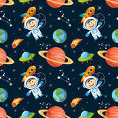 Childish seamless space pattern with astronaut Earth saturn UFO rockets and stars