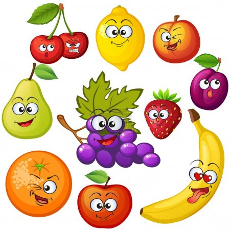 Illustration for Cartoon fruit characters. Fruit emoticons. Grape, orange, apple, lemon, strawberry, peach, banana, plum, cherry, pear - Royalty Free Image