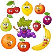 Cartoon fruit characters Fruit emoticons