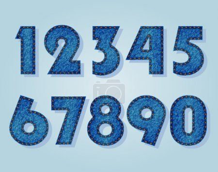 Illustration for Set of numbers from jeans texture - Royalty Free Image