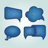 Set of four different jeans speech bubbles
