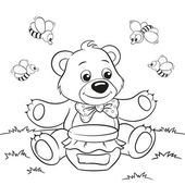Cartoon bear with honey