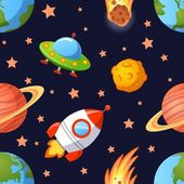 Childish seamless space pattern with planets UFO rockets and stars