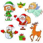 Christmas and new year characters Santa Claus snowman elf Christmas angel reindeer gifts and bells
