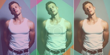 Arty fashion collage made of three shoots of young handsome musc