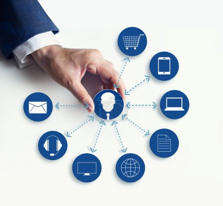 Hands holding icon customer network connection, Omni Channel