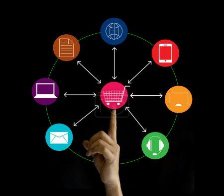 Photo pour Connexion de marketing de réseau à main levée, Omni Channel ou multicanal - image libre de droit
