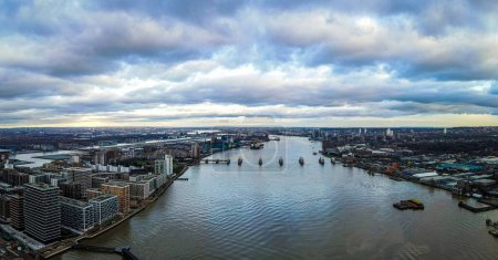 Photo for Aerial view of the Canary Wharf, the secondary central business district of London on the Isle of Dogs, UK - Royalty Free Image