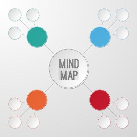 Illustration pour Modèle infographique de carte mentale pour votre texte. Illustration vectorielle - image libre de droit