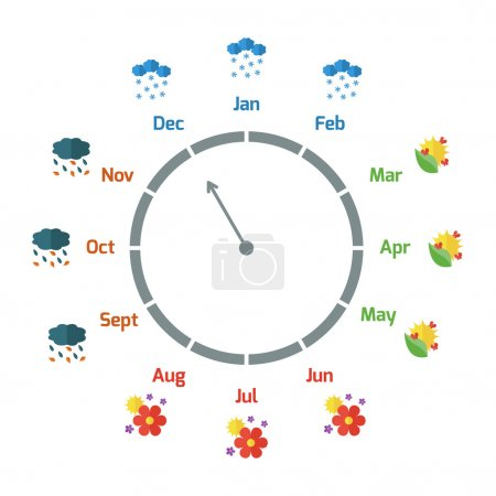 Infographic about changing of the seasons in flat style