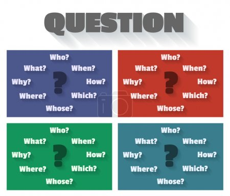 Question marks and words - who, how, when, which, why, whose, where, what.