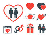 Set of icons on the theme of love and Valentines day Vector red and blue signs in flat design style