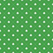 Seamless pattern with clovers leaves and dots in rhomb shape for design of St Patricks Day items