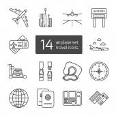 Set of isolated thin lined outlined icons for airplane travel