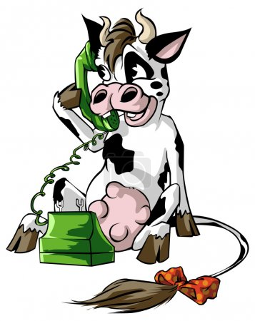 Cow on a cell phone
