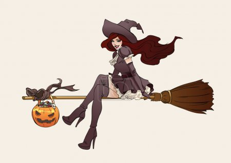 Illustration for Young Witch in hat on broom.  Halloween vector illustration - Royalty Free Image