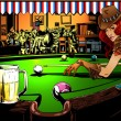 Постер, плакат: The game of billiards in the bar